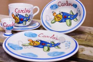 Vajilla Infantil Ceramica PERSONALIZABLE 5 Piezas AVION