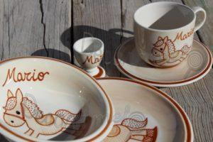 Vajilla Infantil Ceramica PERSONALIZABLE 5 Piezas CABALLITO BALANCIN