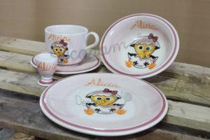 Vajilla Infantil Ceramica PERSONALIZABLE 5 Piezas CALIMERO