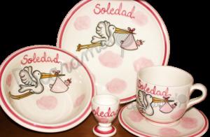 Vajilla Infantil Ceramica PERSONALIZABLE 5 Piezas CIGÜEÑA