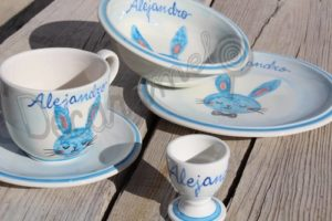 Vajilla Infantil Ceramica PERSONALIZABLE 5 Piezas CONEJO PAJARITA