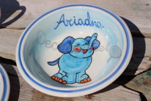 Vajilla Infantil Ceramica PERSONALIZABLE 5 Piezas ELEFANTE CELESTE