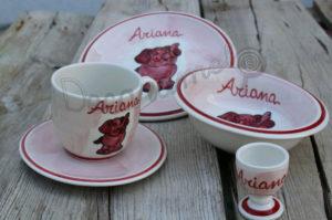 Vajilla Infantil Ceramica PERSONALIZABLE 5 Piezas Elefante Rosa