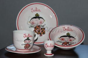 Vajilla Infantil Ceramica PERSONALIZABLE 5 Piezas FLAMENCA