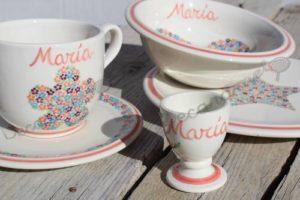 Vajilla Infantil Ceramica PERSONALIZABLE 5 Piezas FLORECITAS