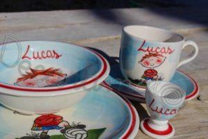 Vajilla Infantil Ceramica PERSONALIZABLE 5 Piezas FUTBOLISTA