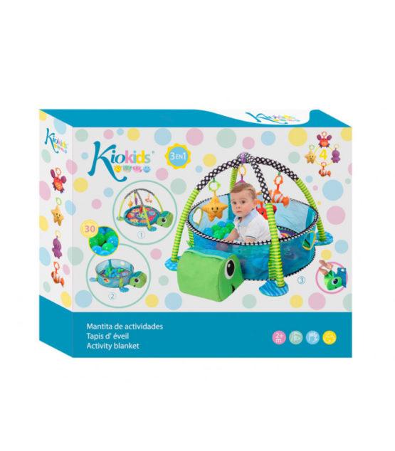Manta de actividades bebes Kiokids 3 en 1, con 30 bolas para convertir la manta en un espectacular parque de 30 bolas.